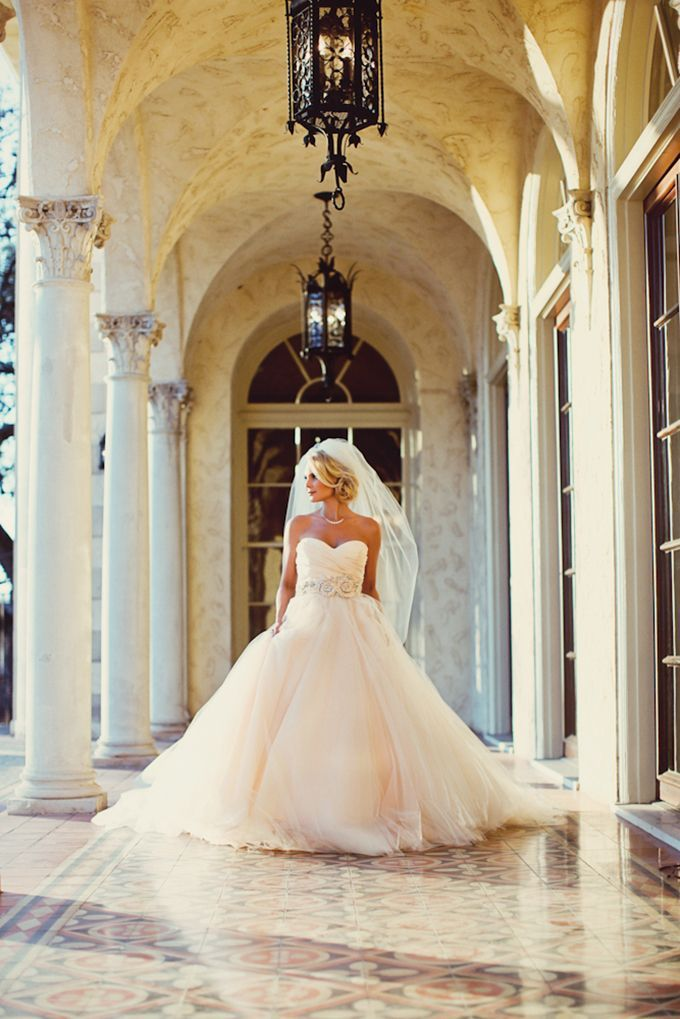 Here comes the bride! :: Gorgeous Blush Bridal Gown:: Sweetheart neckline:: Tulle Ball Gown:: Princess Wedding Dress