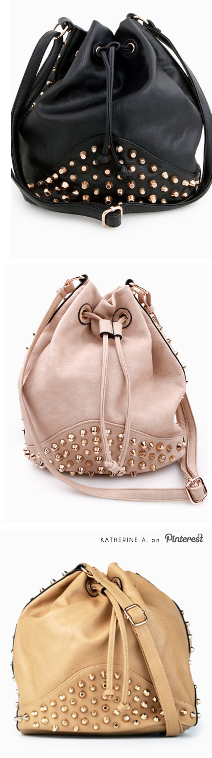 Love the pink one! Right amount of grunge and sweetness! Studded Drawstring Bags / Purses