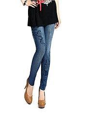kvinders jean legging sømløse elastiske print leggings damebukser