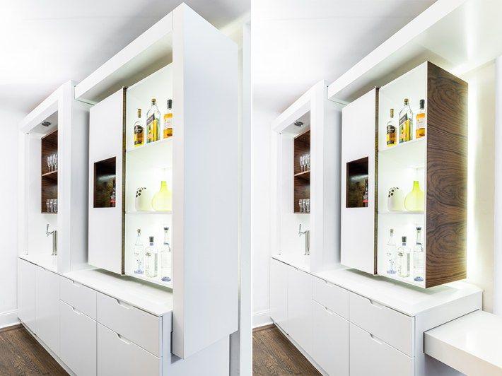 Bárpult és bárszekrény sőt konzolasztal is található ebben az átalakítható egyedi bútorban,  #asztal #átalakítható #bárpult #bárszekrény #beépítettszekrény #bútor #design #designbútor #dizájn #egyedi #enteriőr #fehér #interior #konzolasztal #lakberendezés #szekrénysor, http://www.otthon24.hu/barpult-es-barszekreny-rejtett-es-atalakithato-funkciokkal-konzolasztal/