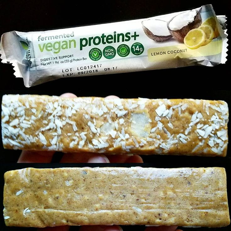 """PLANT BASED BAR REVIEW. Swipe for the goods. Lemon coconut fermented vegan proteins+ by @genuinehealth (WHAT does that even mean??) .  I was super skeptical about this bar. The package is weird. The brand who? Why is it fermented. But its amaaazing. Hit me out of nowhere. TASTE: I hate to use Quest as a comparison, but it's a good reference okay 🙃. This is like a lemon quest bar with solid coconut shreds swimming throughout. If anything, the lemon is a little less """"there"""" than quest, but…"""