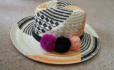 Pom pom hat, Yosuzi inspired, trilby, fedora, straw, pompom, festival, fashion