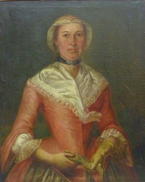 Deutsch, 18. Jh.  Öl auf Leinen, Porträt einer Edeldame im roten Kleid mit Spitzenhaube, Halsschmu