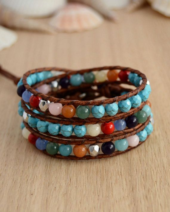Colorful hippie bracelet. Turquoise mixed color by SinonaDesign, €48.00
