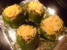 Easy Stuffed Peppers 4 bell peppers 1 box Rice-a-Roni, beef flavor 1 lb. ground beef, cooked and drained 1-14 oz. can diced tomatoes Cheese for topping (if desired) Prepare the Rice-a-Roni according to box directions Cook ground beef, drain well … Continue reading →