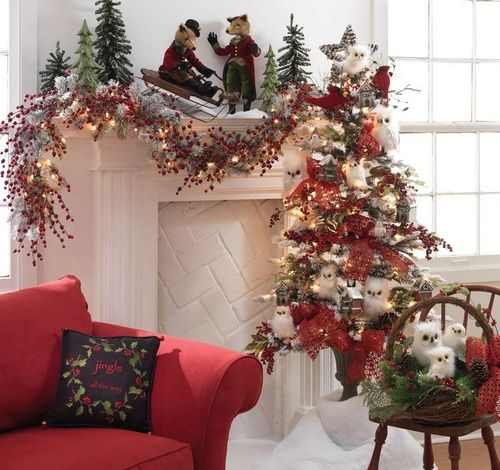 navy blue and white sneakers Christmas Mantel  Here is a great decorating idea from RAZ Imports  A five foot flat Christmas tree in urn is decorated with     nest ornaments  white owls  birdhouse ornaments  cardinal ornaments  and pinecone stars