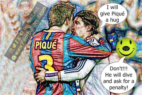 Sergio Ramos will Give Gerard Piqué a Hug Despite Conflict #Ramos #Pique #Messi #Barcelona #Ronaldo #Neymar #ChampionsLeague #UCL #FCBarcelona #Bale #Jokes #Comic #Laughter #Laugh #Football #FootballDroll #Funny #Valencia #CR7 #FCBLive #HalaMadrid #ForçaBarça #LaLiga #RealMadrid #Enrique #Guardiola
