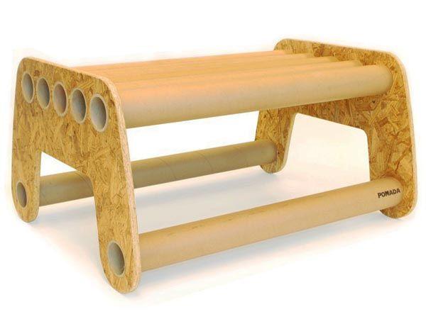 furniture made from scrap cardboard tubes