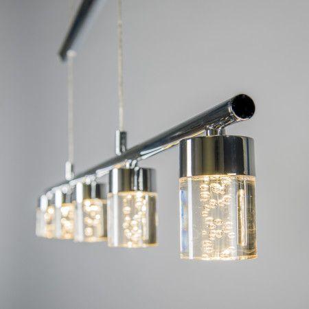 Lámpara colgante TRAY 5 acero - Preciosa lámpara de techo que consiste en una pieza rectangular con cinco cubiertas de cristal. Su aspecto moderno la hace apta para cualquier estancia. Además es fácilmente ajustable en altura.