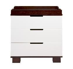 @Overstock - Modern dresser is the perfect addition to any nursery  Three-drawer changing table provides lots of storage space  Changer features a chic espresso and white design  http://www.overstock.com/Home-Garden/Babyletto-Modo-3-drawer-Dresser-Changer/4335142/product.html?CID=214117 $389.00