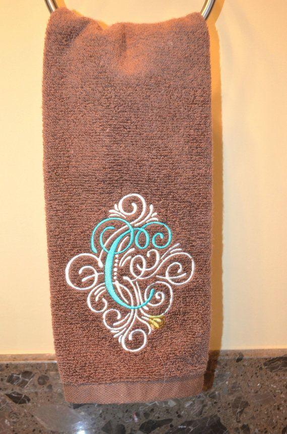 Elegant Scrolled Monogrammed Hand Towel by LittlePumpkinandRye