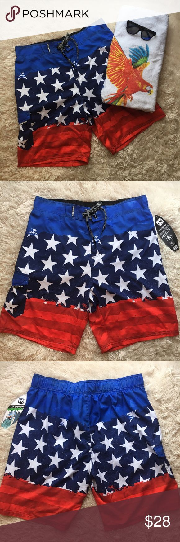 Ocean Current Board Shorts Red, white and blue board shorts/quick drying construction/adjust waist with drawstring/velcro fly/velcro pocket on left side includes 2 drainage holes/waist 36 inseam is 9 1/2 length from waistband is 21 1/2 Ocean Current Swim Board Shorts