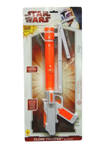Star Wars Clonetrooper Laserase äänellä  Lisensoitu Star Wars Clonetrooper Laserase varustettuna aidoilla Star Wars äänillä. Varo joutumasta keskelle väijytystä ilman tätä asetta. #naamiaismaailma