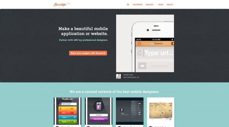 http://www.scoutzie.com/  #website #appdesign  #orange #lightblue