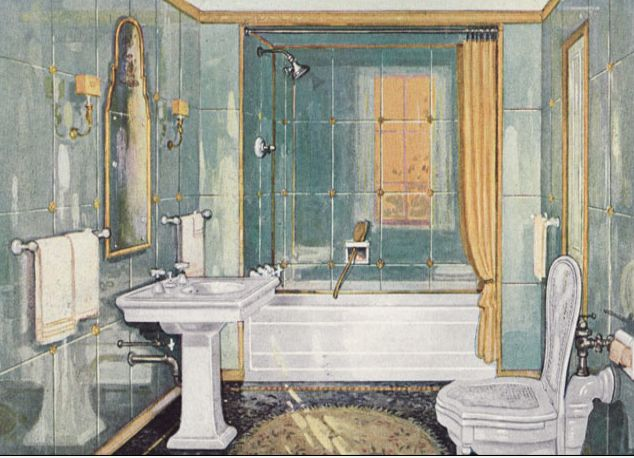 Antiqued Mirrored Walls With Rosettes In A 1926 Bathroom. Note Cane Seat  Over The Commode