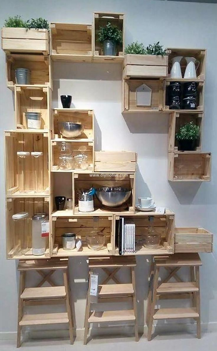 We all need something that should be stylish and useful at same time. Now we came up with righteous choice of pallet fruit crates shelving. This is so much easy to make. All you need is to have fruit crates and join them along with wall in proper manner. Taada! here we come with beautiful and presentable choice. Do make this project at your home for your ease.