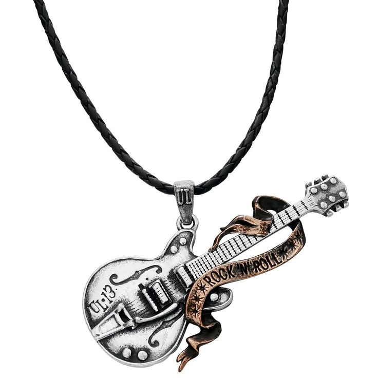 Your heart belongs to guitars and RocknRoll? Show it with this pendant! The guitar is entwined by a banderole with the slogan RocknRoll. Pendant material: nickel-free pewter. Length: 3,5 cm....