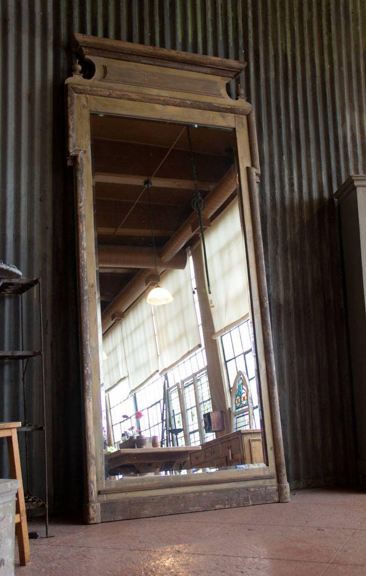 Antique Louis Philippe Floor Standing Mirror