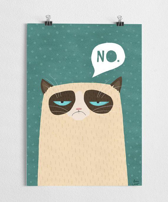 Kunstdruck mürrische Katze illust mürrisch Poster von agrapedesign