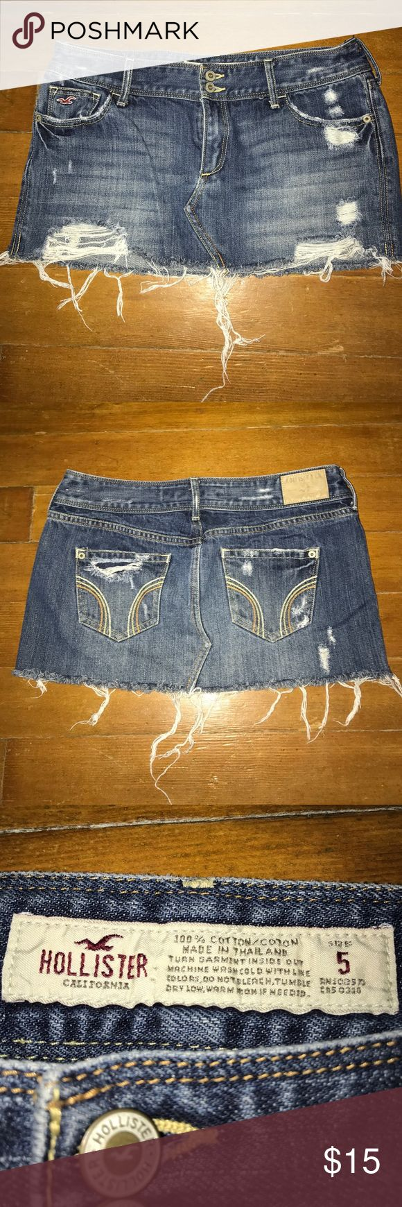 Hollister low-Rise Denim Mini Skirt This cute mini skirt has a vintage look, featuring medium wash denim with fading and whiskering, destroy detailing, a frayed hem and iconic back pocket stitching. Comes from a smoke free home. Hollister Skirts Mini
