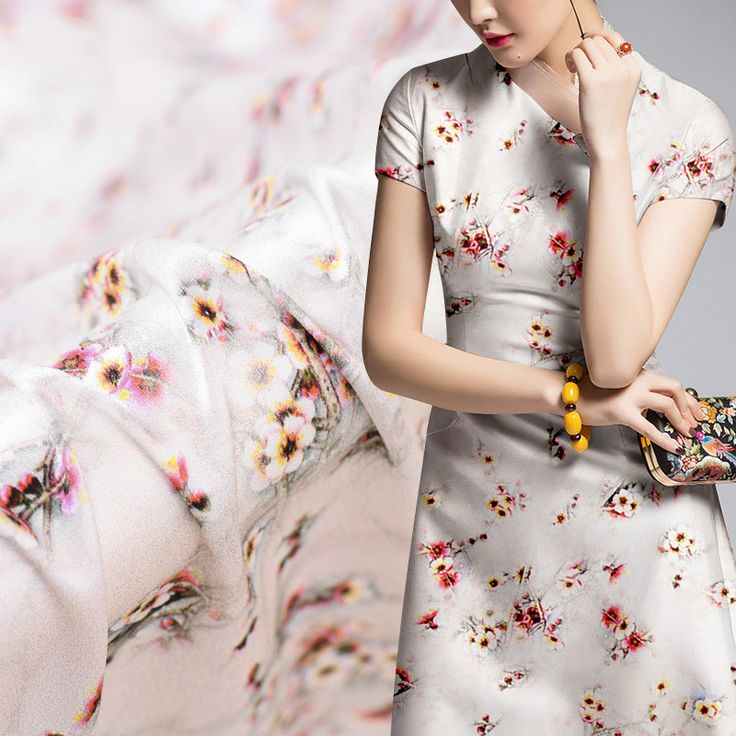 White plum silk stretch satin digital printing silk fabric  mulberry silk cloth cheongsam dress skirt fabric #Affiliate