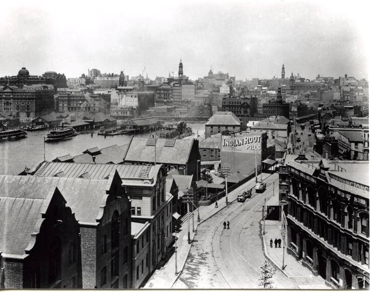 George St, looking south from The Rocks. c.1910, City Archives.