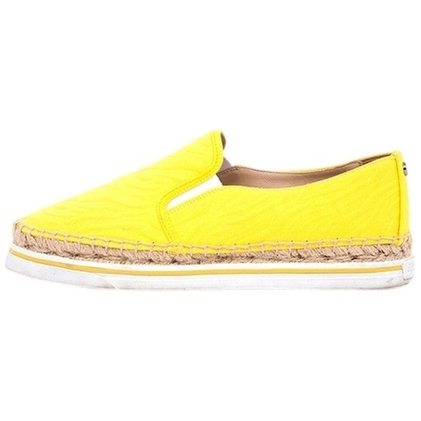 Pre-owned Jimmy Choo Yellow Espadrille Flats ($165) ❤ liked on Polyvore featuring shoes, flats, yellow, jimmy choo flats, canvas espadrilles, jimmy choo, canvas flats and flat shoes