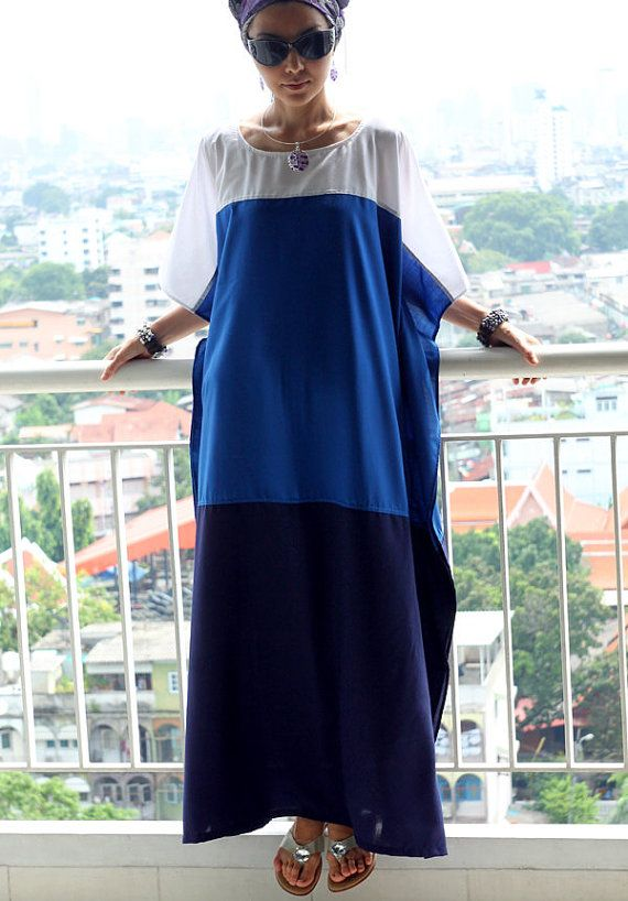 Maxi dress, kaftan white / blue/ navy, tunic caftan, beach cover up, lounge wear, cruise wear, long caftan, maternity wear