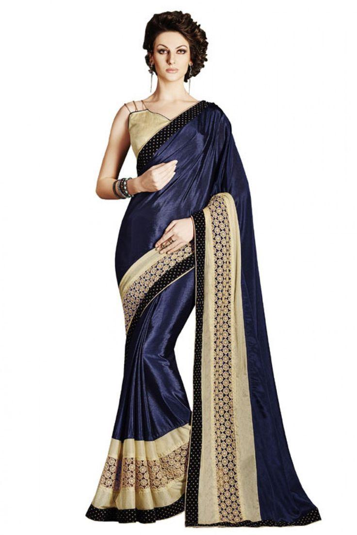 Bahubali Satin Silk Designer Saree In Dark Blue Colour