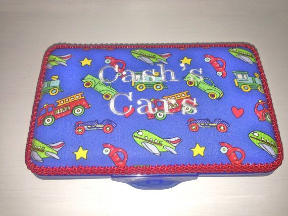 Personalized Pencil Box.  Cars Trains Planes Print by CeeJaze