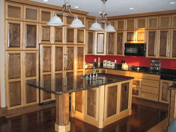 Stained Two Toned Ash Wood Kitchen Cabinets With Two Toned Trim