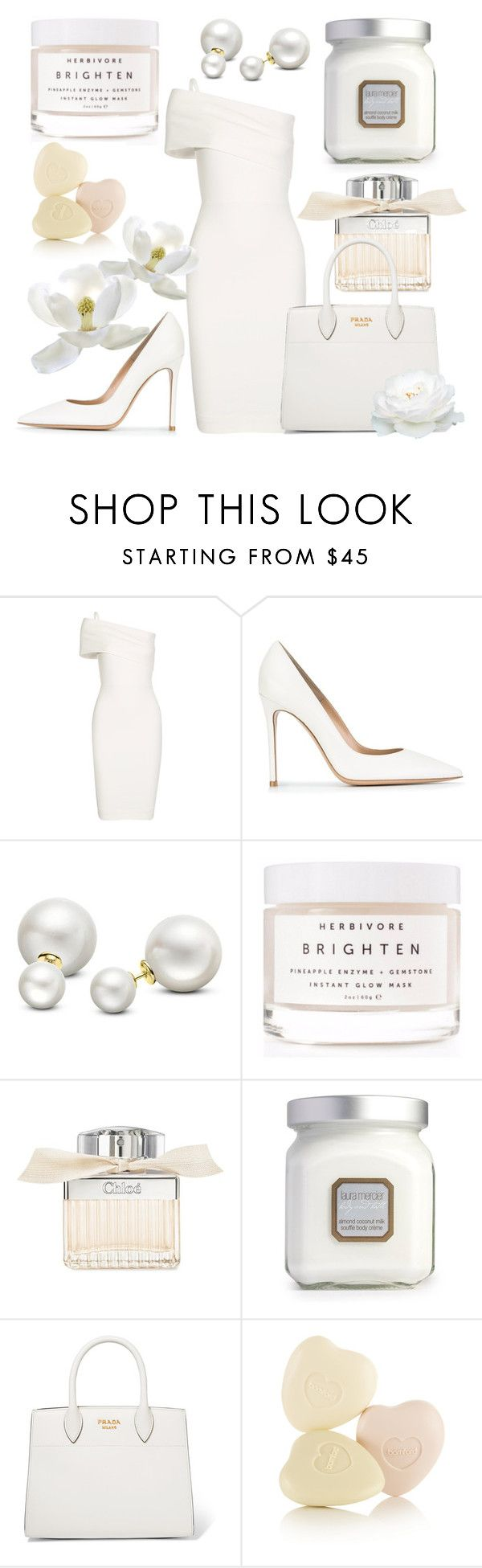 """Colour white 01"" by slavulienka on Polyvore featuring Michelle Mason, Gianvito Rossi, Allurez, Herbivore, Chloé, Laura Mercier and Prada"