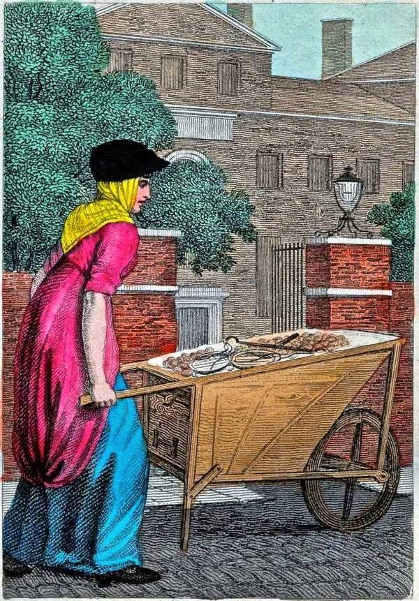 William Marshall Craig's Itinerant Traders of London in their Ordinary Costume...1804. New Potatoes. It is one of 31 similar works which William Marshall Craig (c.1750-c.1828) produced to illustrate Modern London, a guide book published by Richard Phillips in 1804.
