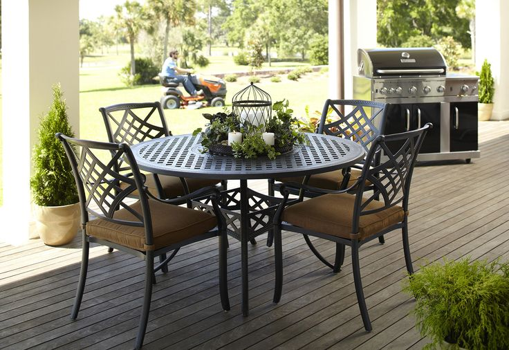 A timeless outdoor dining set.