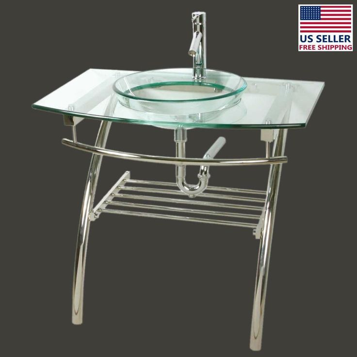 glass console sink recessed bathroom stainless vanity combo supply