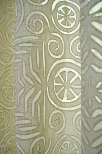 Layla Cotton Applique Curtain Panel Natural - Steel Paisley