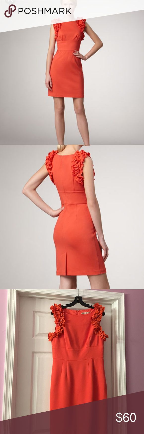 """Trina Turk dress Bright orange 🍊 Trina Turk Mina Ruffled Ponte dress.Perfect for Easter or any other spring or summer event.Stretchy material with silk ruffles ,fully lined,back zipper ,35"""" inches long,waist 16"""".Great like new condition. Trina Turk Dresses Mini"""