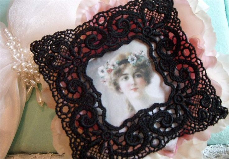 Venise Lace Embroidered Frame~SIMPLY VICTORIAN (BLACK)S