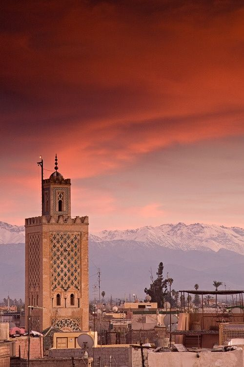 Sunset over the Atlas Mountains in Morocco