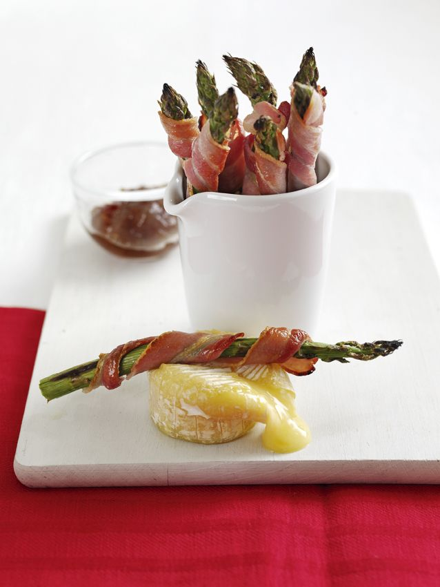 Bacon Wrapped Asparagus with Gooey Dipping Cheese
