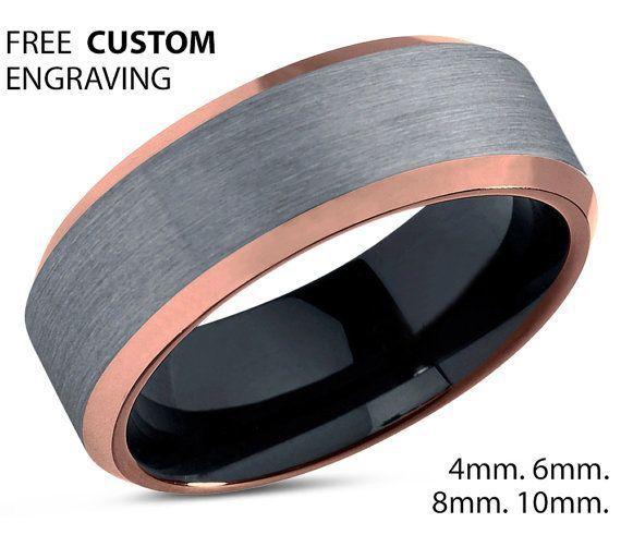 Rings for Men Rings for Women 10mm 8mm 6mm 4mm Engagement Ring Promise Tungsten Ring Rose Gold 18K Wedding Ring Mens Wedding Band