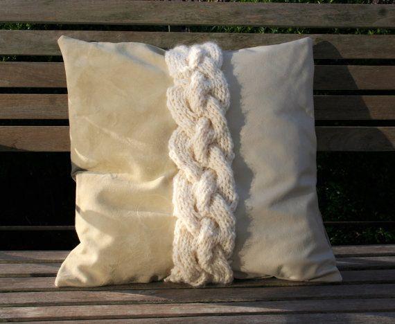 Leather/suede/woolen cushion lederen/suede/wollen kussen