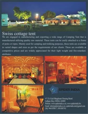 Photo: http://www.indiamart.com/spiderindia/indian-luxury-tents.html#camping-tent  #campingtent  #resorttent  #safaritent  #swisscottage, #tent #canvastent #airconditional trackingtent