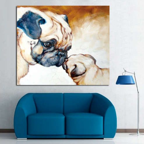 Pug Art - Pug Painting - Pug Unique Oil Painted - Pug OIl Handpainted Canvas Painting- FREE Shipping