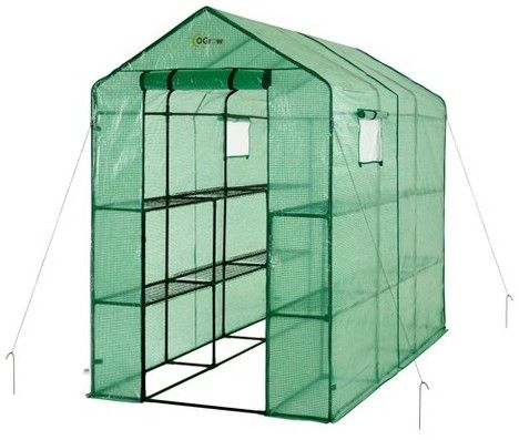 OGrow Extra Large Heavy Duty Walk - In 2 Tier 12 Shelf Portable Lawn And Garden Greenhouse - Green
