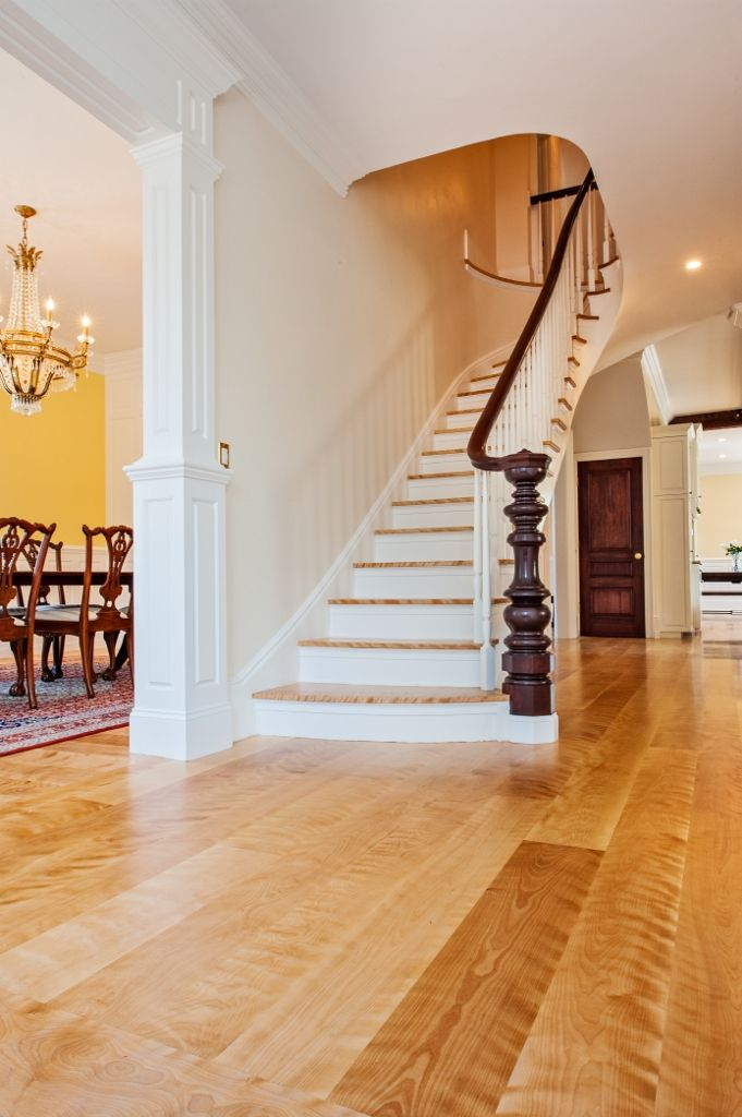 wide plank floor with matching staircase curly birch wide plank floors