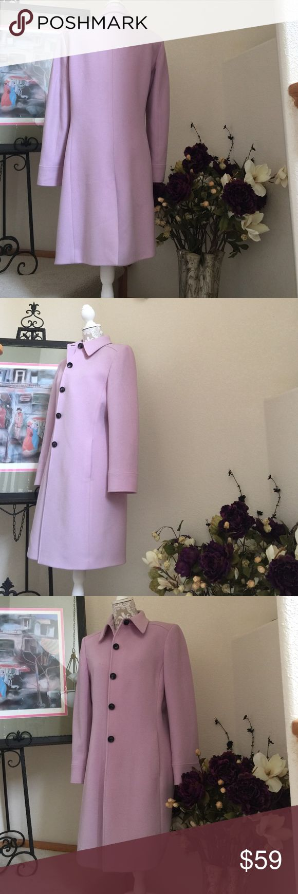 Lavender 100% Wool Jacket Beautiful, well crafted of high quality lighter weight wool. Perfect fit early spring weather. No designer label, but not a cheap coat. Generous Small or Medium. Will fit 6-8. You will love this jacket and not have buyers remorse. Jackets & Coats