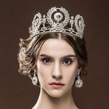 Sparkly Crystal Wedding Bridal Queen Tiara Crown Women Girl Headdress For Gift