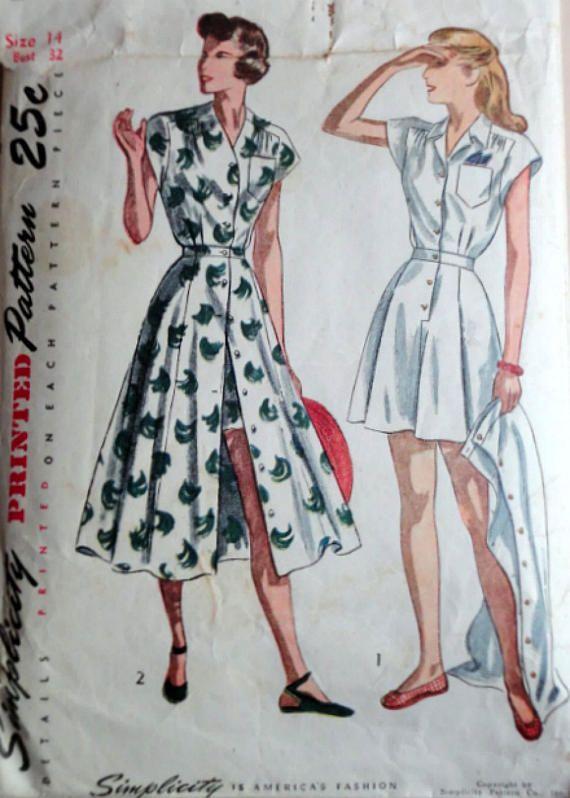 Sewing Pattern Vintage 40's Simplicity 2444 Misses'