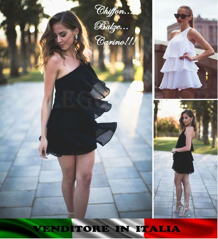 Vestito balze nero chiffon mono spalla sera cerimonia party elegante abito dress